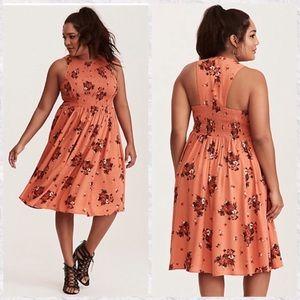 NWOT Torrid Floral Smocked Challis Midi Dress | 3X